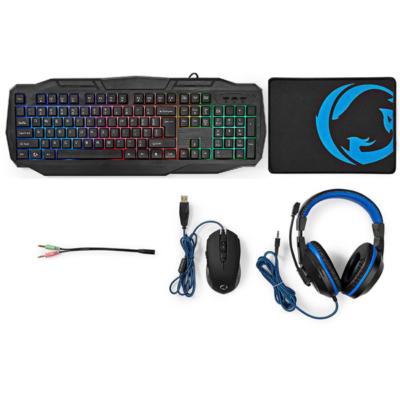Nedis Gamingst - 4 i 1 - Tastatur headset mus og musemtte - Nordisk - Sort