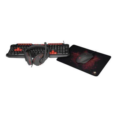 DELTACO GAMING - Tastatur, mus, headset og musemåtte sæt - Sort